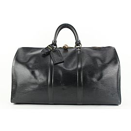 Louis Vuitton Black Epi Leather Noir Keepall 50 Boston Duffle Bag 85lvs427