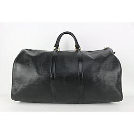 Louis Vuitton Black Epi Leather Noir Keepall 55 Boston Duffle Bag Travel 827lv93