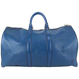 Louis Vuitton Blue Epi Leather Toledo Keepall 45 Boston Duffle Bag 820lv1
