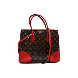 Louis Vuitton Flandrin 872340 Red Monogram 2way Brown Coated Canvas Tote