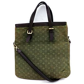 Louis Vuitton Francoise Khaki Fold with Strap 871829 Green Monogram Mini Lin Tote