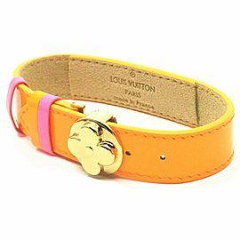 Louis Vuitton Orange Monogram Vernis Good Luck Bracelet Bangle Flower Cuff 860511