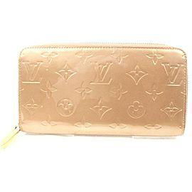 Louis Vuitton Gold-Beige Monogram Vernis Long Zippy Wallet Zip Around 863030