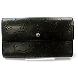 Louis Vuitton Gray Long Tresor Porte Charcoal Monogram Mat Sarah Trifold 871785 Wallet