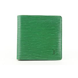 Louis Vuitton Green Epi Leather Borneo Men's Bifold Wallet Slender Multiple 403lv527