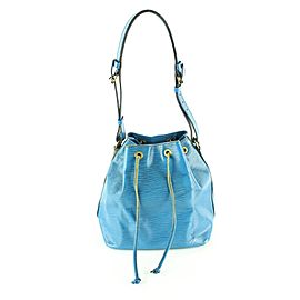 Louis Vuitton Blue Epi Leather Petit Noe Drawstring Bucket Hobo Bag 1lvm128