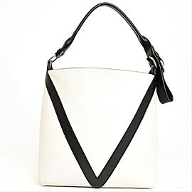 Louis Vuitton Hobo Bicolor V 234742 White/Grey/Black Leather Shoulder Bag