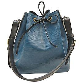 Louis Vuitton Bicolor Blue x Black Noe Petit Drawstring Bucket Hobo Bag 862959
