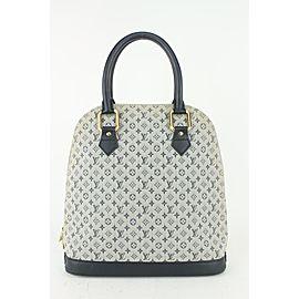 Louis Vuitton Navy Blue x Grey Monogram Mini Lin Alma Haut Bag 820lv83