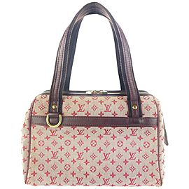 Louis Vuitton Pink Burgundy Bordeaux Monogram Mini Lin Josephine PM Boston 4LV1022