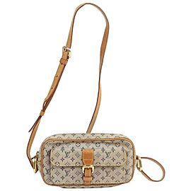 Louis Vuitton Juliette Mm 872389 Blue Monogram Mini Lin Canvas Cross Body Bag