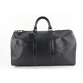 Louis Vuitton Black Epi Leather Noir Keepall 50 Duffle Bag 517lvs68