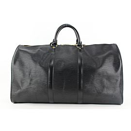 Louis Vuitton Black Epi Leather Noir Keepall 50 Duffle Bag 84lvs427