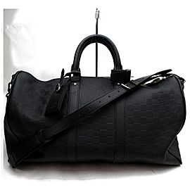 Louis Vuitton Keepall Bandouliere 45 with Strap 872908 Black Damier Infini Leather Weekend/Travel Bag