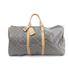 Louis Vuitton Keepall Duffle 55 Monogram 6lk0115 Brown Coated Canvas Weekend/Travel Bag