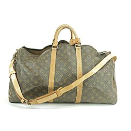 Louis Vuitton Keepall Duffle Bandouliere 55 with Strap Monogram 232496 Brown Coated Canvas Weekend/Travel Bag