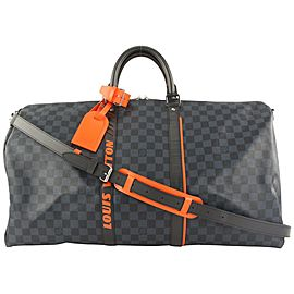 Louis Vuitton Damier Cobalt Race Keepall Bandouliere 55 Duffle with Strap 67lvs423