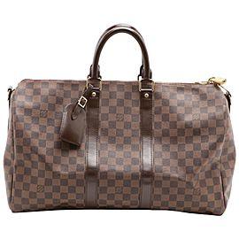Louis Vuitton Damier Ebene Keepall Bandouliere 45 Boston Duffle GM 861466
