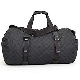 Louis Vuitton Keepall Duffle Damier Graphite Aventure Practical Bandouliere 231504 Black Nylon X Lea
