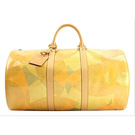 Louis Vuitton Keepall Duffle Fleurs Barrel 1lva104 Yellow Monogram Vernis Leather Weekend/Travel Bag