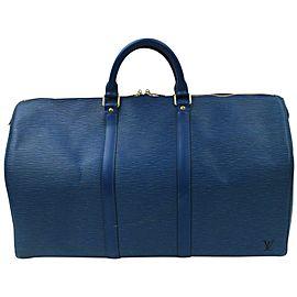 Louis Vuitton Blue Epi Leather Toledo Keepall 50 Boston Duffle Travel Bag 862983