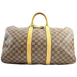 Louis Vuitton Keepall ( Extremely Rare ) Nigo Centenaire Damier Ebene 50 107lva129 Brown Coated Canvas Weekend/Travel Bag