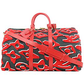 Louis Vuitton LVxUF Urs Fischer Red x Black Monogram Keepall Bandouliere 45 20lvs114
