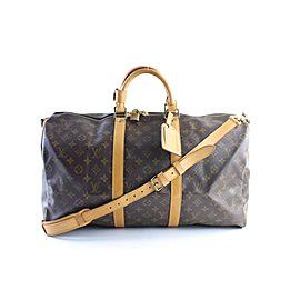 Louis Vuitton Keepall Monogram Bandouliere 50 36lr0618 Brown Coated Canvas Weekend/Travel Bag