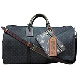 Louis Vuitton Rare Limited Black Monogram Eclipse Patchwork Keepall Bandouliere 50
