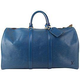 Louis Vuitton Blue Epi Leather Toledo Keepall 45 500lvs68