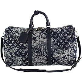 Louis Vuitton Virgil Abloh Denim Tapestry Keepall Bandouliere 50 Strap Bag 19LVS1210