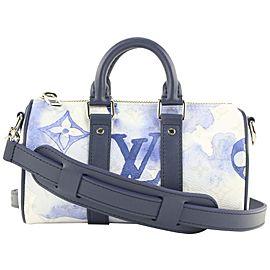 Louis Vuitton Blue Watercolor Monogram XS Keepall Bandouliere Bag 802lvs46
