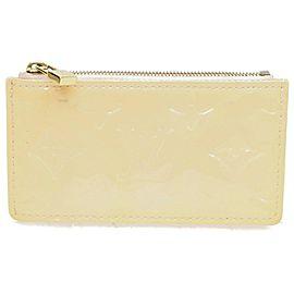Louis Vuitton Key Pouch Pochette 872282 Perle Coin Purse Cles Cream Monogram Vernis Leather Clutch