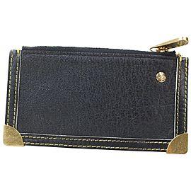 Louis Vuitton Key Pouch Pochette Cles 871548 Black Suhali Leather Clutch