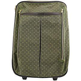 Louis Vuitton Khaki Green Olive Monogram Mini Lin Annette Rolling Luggages 257lvs0