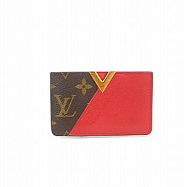Louis Vuitton Kimono Card Holder Case Wallet Monogram Red Taurillon Leather 872471 Brown Coated Canvas Clutch