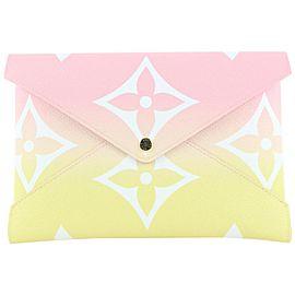 Louis Vuitton Large Pink x Yellow Monogram Kirigami GM Envelop Pouch 19lvs421