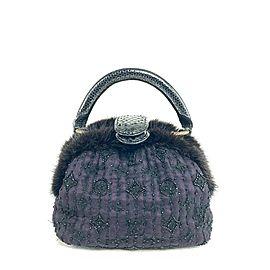 Louis Vuitton Quilted Monogram Chiffon Demi Lune Pm 20lva624 Violet X Black Mink Fur Satchel