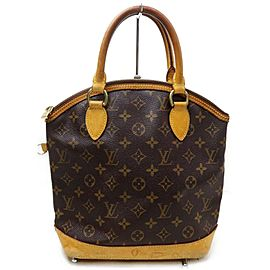 Louis Vuitton Lockit 872182 Monogram Mm Brown Coated Canvas Satchel