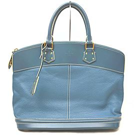 Louis Vuitton Blue Suhali Leather Lockit MM Satchel Bag 863033