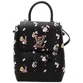 Louis Vuitton Black Leather Floral Mini Lockme Backpack 861417