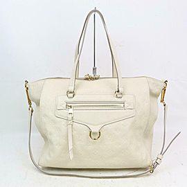 Louis Vuitton Lumineuse Leather 2way Zip Tote 870872 White Monogram Empreinte Shoulder Bag