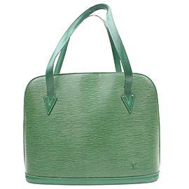 Louis Vuitton Lussac Borneo Zip Tote 869948 Green Leather Shoulder Bag