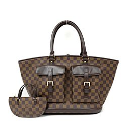 Louis Vuitton Manosque Damier Ebene Gm With Pouch 234587 Brown Coated Canvas Tote