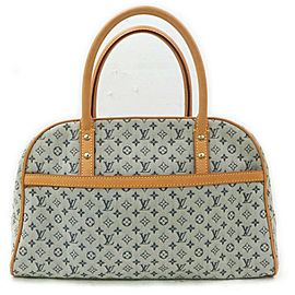 Louis Vuitton Navy Blue Monogram Mini Lin Marie Speedy Boston Bag 862236
