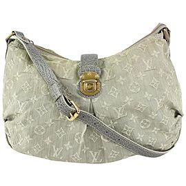 Louis Vuitton Grey Monogram Denim Slightly Messenger Hobo Bag 826lv87