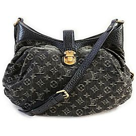 Louis Vuitton Black Denim Noir Monogram XS Hobo Messenger 861184