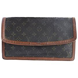 Louis Vuitton Monogram Dame Gm Envelope 226848 Brown Coated Canvas Clutch