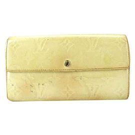 Louis Vuitton Long Wallet Monogram Vernis Sarah Bifold 217980 Perle Patent Leather Clutch