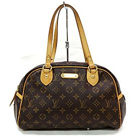 Louis Vuitton Montorgueil 872179 Monogram Pm Bowler Brown Coated Canvas Satchel
